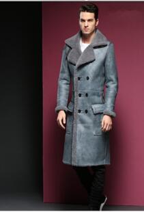 Модная длинная куртка из натуральной кожи, мужская длинная куртка из натуральной овчины с отложным воротником, Мужская двубортная куртка большого размера 5XL 6XL Sani 32828005149