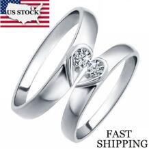 Сердце Серебро Цвет Анель пара приверженность кольцо обручальное Anneaux для мужчин и женщин бижутерия Anneaux брак кольца для женщин бижутерия женское J207 Uloveido 849316850