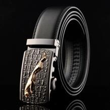 новая дизайнерская Автоматическая пряжка кожаный мужской ремень из крокодиловой кожи Ягуар высокое качество сплав Пряжка роскошные ремни для мужчин WOWTIGER 32612943308
