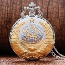 Модные серебряные и золотые советские серповидные Молот Стиль кварцевые карманные часы для мужчин и женщин кулон подарок Прямая доставка YISUYA 32601519915