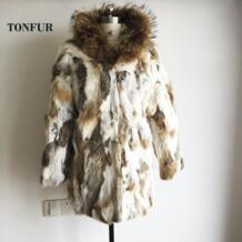 Новинки для женщин натуральным кролик Мех животных пальто с енота Мех животных Куртка с воротником женский дизайн теплые зимние tp141 No name 1743370330