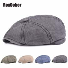 унисекс стирка мягкий хлопок кепка газетчика для мужчин и женщин Винтаж восьмиугольная шляпа детектив малярные шляпы ретро плоские шапки RoxCober 32983242289