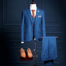 NA20 новая модель на заказ две пуговицы Королевский синий человек официальная одежда для выпускного вечера смокинги (пальто + брюки + жилет) Slim Fit Мужские костюмы No name 32836519357