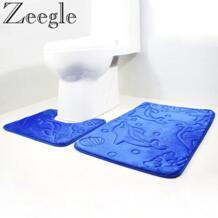 Dolphin тисненый 2 шт набор ковриков для ванной фланелевый набор ковров для ванной Противоскользящий коврик для туалета коврики для ванной комнаты Душевые коврики ZEEGLE 32838334020