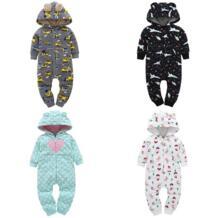 Детские комбинезоны с длинными рукавами, флисовая одежда с капюшоном и ушками для девочек, детские комбинезоны, пальто для девочек и мальчиков, осенне-зимний Рождественский Костюм Sun Moon Kids 32954049007