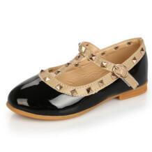 Заклепки PU Обувь кожаная для девочек для Обувь для девочек Детские туфли принцессы Спортивная обувь для маленьких детей Повседневное Лоферы черный, красный No name 32682563496