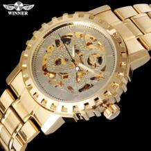 Победитель известный бренд для мужчин механические Автоматические золотые часы Мужской Скелет сталь модные наручные часы Дракон циферблат Relogio Masculino T-winner 32611166432