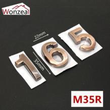 35 мм x 22 мм ABS пластиковая дверная пластина цифра красная медь самоклеющиеся 0-9 номера двери индивидуальные дом Адрес знак # M35R Wonzeal 32966913823