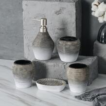 Новогодний высококачественный набор из 5 предметов наборы аксессуаров для ванной комнаты держатель зубной щетки Ретро керамическая чашка для полоскания рта набор для мойки No name 32859672435