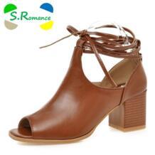 S. Romance Плюс Размер 33-43! Новые модные женские САНДАЛИИ ГЛАДИАТОРЫ Mid квадратный каблук повседневная женская обувь сплошной черный коричневый SS491 S.Romance 32617516394