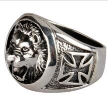 Ручной 925 серебряный лев крест кольцо старинные тайские серебряный лев палец кольцо чистого серебра человек ювелирные изделия кольцо подарок TOBEME 896346713