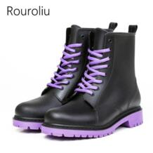 /женские непромокаемые ботинки на шнуровке в байкерском стиле, непромокаемые ботинки, женская нескользящая обувь, ZJ176 Rouroliu 32516460790