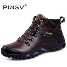 Pinsv кожа Мужские ботинки На зимнем меху Сапоги и ботинки для девочек Мужская обувь черные зимние сапоги, ботильоны для Мужская зимняя обувь Мужская обувь No name 32725446228
