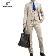 Повседневный нарядный костюм на заказ костюмы для мужчин цвета хаки из 3 предметов (куртки + брюки + галстук) для свадеб 2018 лето Slim Fit weonedream 32811357636