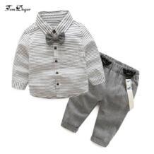 , новинка 2018 года, Осенний повседневный комплект одежды для маленьких мальчиков, комплект одежды для маленьких джентльменов с бантом, рубашка + комбинезон, комплект из 2 предметов Tem Doger 32785628497