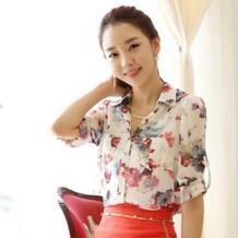 С цветочным принтом Женская мода шифон рубашки для мальчиков плюс размеры S-2XL новый корейский элегантный для женщин повседнев SYHUI 32287285589