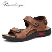 BIMUDUIYU/качественные мужские сандалии из натуральной кожи; модная летняя пляжная Мужская обувь для отдыха; повседневная обувь; большие размеры 38-48; мужские сандалии No name 32645857870