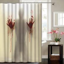 Моделирование 3D цифровой печати хитрые тени ужасов отпечаток крови душ занавеска Водонепроницаемая занавеска для ванной из полиэфира GeYa 32807679743