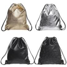 Однотонные золотистые PU Рюкзак Для женщин 2018 новый кожаный рюкзак best продажи моды череп шнурок сумки Школьные сумки для подростков MOJOYCE 32906838483