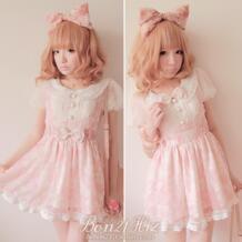 Сладкая Лолита принцесса уже бобонь 21 розовый кружевной дворянка искусственная комплект из двух предметов Платье на завязках цельнокроеное платье D0821 галстук-бабочка пояс двойной loliloli yoyo 1206345334