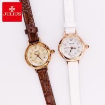 Маленький Топ Julius Леди женские часы Японии кварцевые Элегантный мини в виде ракушки Мода часов браслет кожа девушки Рождественский подаро Юлий 32316450580