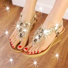 Для женщин обувь sandalias mujer Для женщин сандалии 2018 Новые Модные бисером обувь на танкетке Женские босоножки женская обувь JIASHA 32554570413