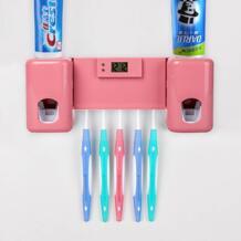 Настенный держатель для зубной пасты Зубная щётка Органайзер вещей на присосках автоматический выдавливатель зубной пасты диспенсер с часами Ванная комната набор аксессуаров jusenda 32845265781