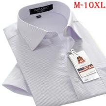 Новое поступление Летняя мужская Повседневная рубашка с короткими рукавами легкий уход в полоску с принтом супер Большие Размеры S-5XL 6XL 7XL 8XL 9XL 10XL IMBARK 32669649757