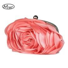 2018 Новая Модные роскошные шелковые вечерняя сумочка; Банкетные с 3D большим цветам кошельки No name 686380684