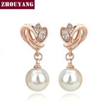 Одежда высшего качества имитация жемчуга розовое золото цвет серьги ювелирные изделия из австрийского хрусталя оптовая продажа ZYE224 ZYE166 ZHOUYANG 1255723143