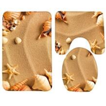 Набор ковриков в ванную 3 шт. пляж море в виде ракушки узор Туалет коврики Нескользящие ванная комната ковры комплект Товары для ванной MustHome 32832182909