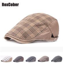 винтажный клетчатый хлопоковый берет плоская кепка для мужчин и женщин Классическая кепка газетчика козырек шляпа Planas Регулируемый головной убор RoxCober 32984515890