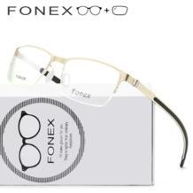 Сплав силиконовые рецепт очки с оптические стёкла глаз для мужчин полуоправы половина рамки Близорукость Оптические очки 981 FONEX 32878473870