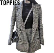 2019 Женские клетчатые блейзеры мини-юбка комплекты из двух предметов элегантные женские клетчатые юбки костюмы весенний блейзер toppies 32972338512