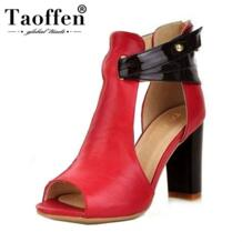 TAOFFEN/Размеры 34–43 Для женщин из натуральной кожи босоножки на высоком каблуке гладиаторы женские каблуки сандалии на платформе R233 No name 1686940269