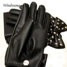 Windreama Лидер продаж Высокое качество Новые Модные женские Искусственная кожа заклепки Большой Bowknot перчатки No name 32274287814