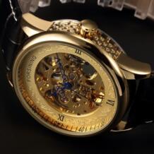 полые гравировка скелет часы повседневное Дизайнер Золотой корпус шестерни ободок часы для мужчин Элитный бренд автоматическ... Forsining 32590946278