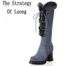 Женская зимняя обувь толстый высокий каблук зимние сапоги из натуральной кожи высокие сапоги до колена с кроличьим мехом на шнуровке с боковой молнией с круглым носком размеры 34–39 SXQ0808 No name 32222950776