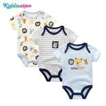 Модная одежда для детей, Детская мода для девочек боди 3 шт. для новорожденных одежда для малышей хлопок Рубашка с короткими рукавами круглым вырезом Цветочные месте мальчиков младенческой мальчик пижамы Костюмы kiddiezoom 32800370925