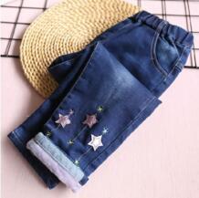 Зимние джинсы для маленьких девочек, флисовые теплые штаны с аппликацией в виде звезд, модные штаны для девочек, джинсовая одежда для девочек, детские штаны, детская одежда RuiYao 32835036512