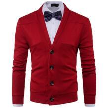 Модные осенние Для мужчин вязаный свитер новый v-образным вырезом Однобортный кардиган мужской Slim Fit Homme sweater2017 Большие размеры зимние Z30 No name 32841120101