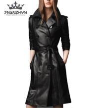 2019 осень-зима Для женщин кожаная куртка двубортные пальто pu искусственная кожа куртка Тренч средней длины пальто Верхняя одежда A48 TNLNZHYN 32814868597