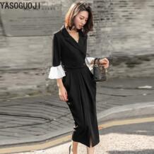 модный двубортный короткий Блейзер с v-образным вырезом и расклешенными рукавами с драпированной юбкой длиной до икры комплект из двух предметов для женщин LTZ25 YaSuGuoJi 32947679202