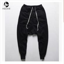 HZIJUE брюки хип-хоп танцевальные шаровары тренировочные брюки падение промежности брюки мужские Паркур трек зауженные брюки No name 32448618193