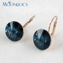 Бесплатная доставка ювелирные изделия серьги из розового золота Цвет Кристаллические серьги синий Кристаллические серьги для женщин MOONROCY 1616849045