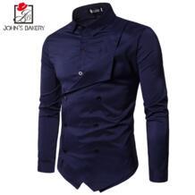 Мужская рубашка 2018 весна новый бренд Мужская Slim Fit платье рубашка мужская с длинным рукавом поддельные два повседневные рубашки Camisa Masculina Размер M-XXL John's Bakery 32858561050