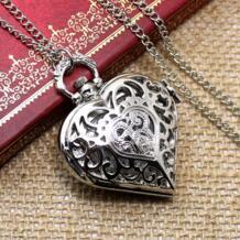 Серебряное сердце Форма fob кварц Подвеска карманные часы с Цепочки и ожерелья цепь бесплатная доставка YISUYA 32611160998