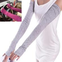 Для женщин солнцезащитный крем рука теплее половины пальцев хлопок длинные перчатки без пальцев манжеты ВС Защита рук наружное простой Дизайн FancyQube 32691943687