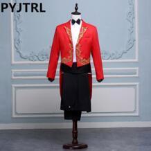 (Куртка + брюки) черный, белый, красный для сценического выступления певца, церемоний, смокинг, Классические свадебные мужские костюмы с брюками, мужской фрак PYJTRL 32793641333