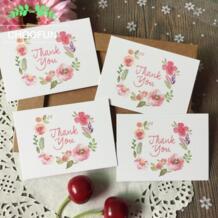 50 шт./лот спасибо и цветы Стиль Бумага карты награды, Подарок Декоративный букет оставить сообщение карта Приглашения карты ZS004 CHOOFUN 32815752415